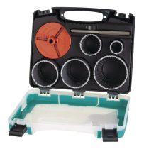 Wolfcraft 3464000 Körkivágó/fúrókorona készlet, 33, 53, 68, 73, 83 mm, wolframkarbid keményfém vágóéllel, kofferben