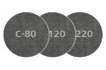 Wolfcraft 5db csiszolórács korong gipszkartonhoz és fához, tépőzáras, ?125mm, SiC, K80,120,240 |8464000|