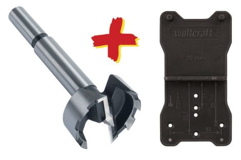Wolfcraft Pánthelymaró/fenék-/forstner/erdész fúró, 35 mm, jelölősablonnal, pántokhoz|8728000|