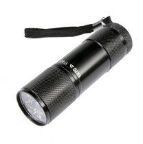 YATO Zseblámpa 9 LED-es alumínium fekete