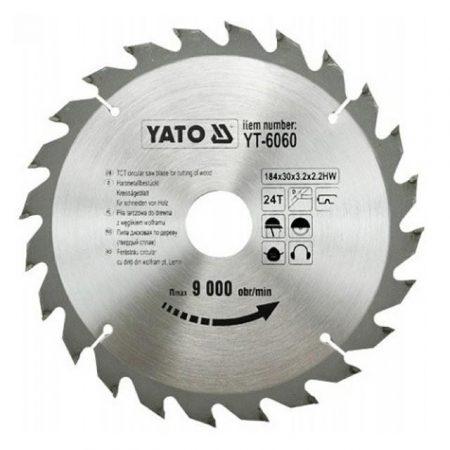 Yato YT-6060 Fűrésztárcsa fához 184x24x30 keményfémlapkás