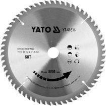 YATO Fűrésztárcsa fához 190 x 20 mm 60T
