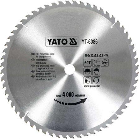 Yato YT-6086 Fűrésztárcsa fához 400x60x30 keményfémlapkás